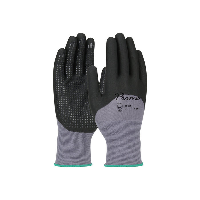 PIP 38-635/L Large Prime 15 Gauge Nitrile Coated Foam Nylon Work Gloves with Microdot Palms and Fingers