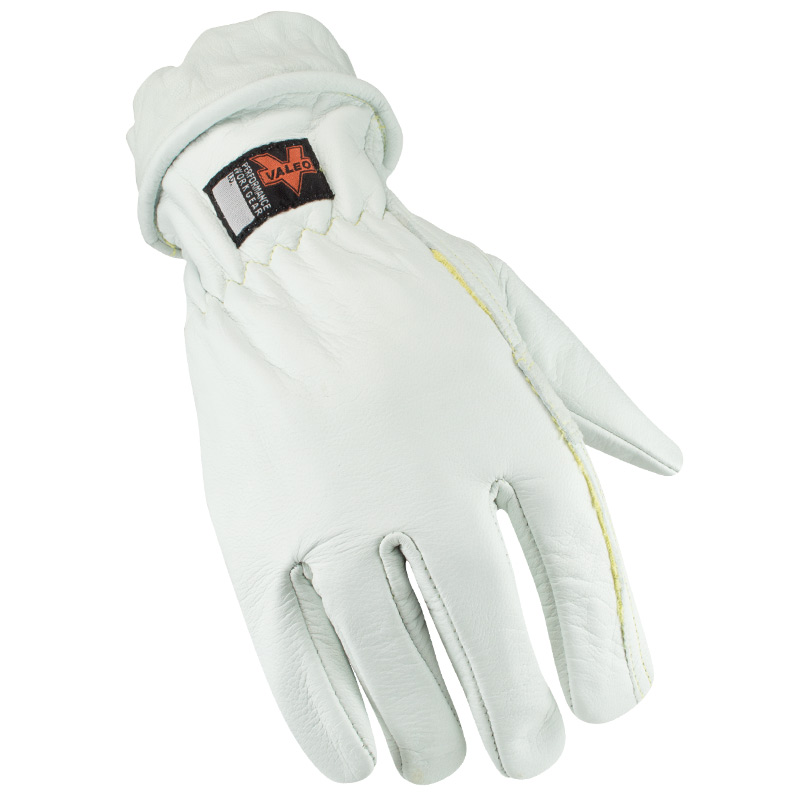 VALEO VI4888 V620 Large Leather Kevlar Lined White Multi-Task Gloves: Elastic Wrists