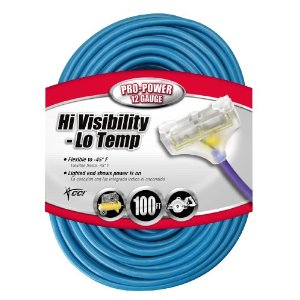 Coleman Cable 04169 12/3 100' SJTW High Visibility Low Temperature Outdoor Tri-Source Extension Cord