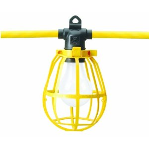 Coleman Cable 07548 Cord-O-Lite 12/3 50' STJW NEMA 5-15 Yellow Plastic Guard Temporary String Lights