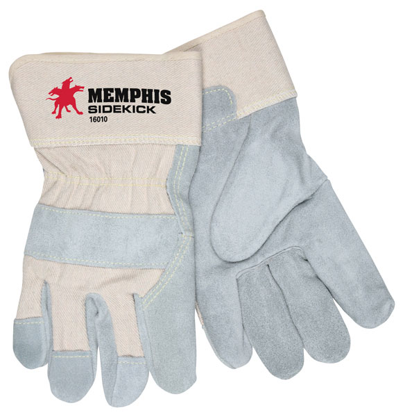 "MCR Safety 16010L Memphis Glove Sidekick Select Side Split Leather: 2.5"" Safety Cuff"