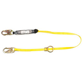MSA10113158 Workman Single-Leg Adjustable Shock-Absorbing Lanyard with snap hook harness and anchorage connections