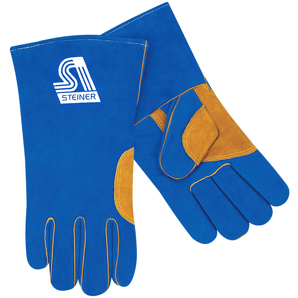 Steiner Industries 025NT-L Large Natural Thumb Premium Side Split Cowhide Stick Welding Gloves Heat Resistor Triple Layer Lined