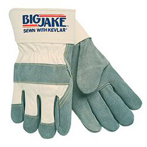 "Memphis Glove 1700 BIG JAKE Premium Lined Gray Side Split Cowhide Leather Palm Gloves: 2 1/2"" Rubberized Safety Cuffs"