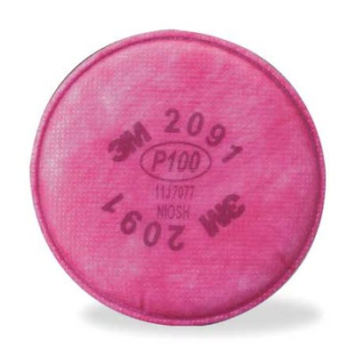 3M 2091 Magenta P100 Particulate Filter Discs: Package of 2 Filters