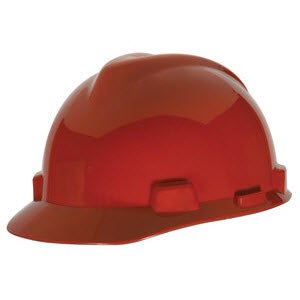 28907d6d Hard Hats - - MSA 475363 V-Gard Red HDPE Fas-Trac 4-Point Ratcheting ...