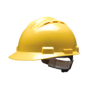 Bullard S62YLR Vented Series Yellow HDPE Flex-Gear 4-Point Ratcheting Suspension Cap Style Hardhat