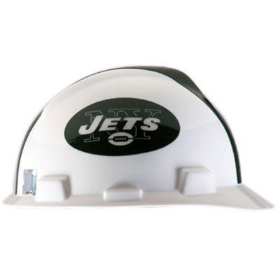 MSA 818404 NFL V-Gard New York Jets 1-Touch 4-Point Suspension Cap Style  Hardhat  818404  30aae593f