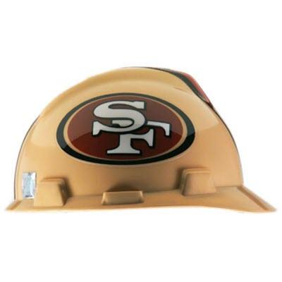 MSA 818409 NFL V-Gard San Francisco 49ers 1-Touch 4-Point Suspension Cap  Style Hardhat  818409  f022cf0c6