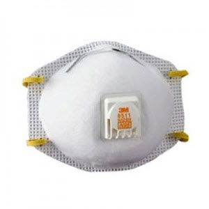 3M 8511 N95 Universal Disposable Valved Particulate Respirators: Box of 10 Respirator Masks