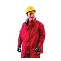 "Ansell Edmont 66-660-3X Ansell 3X Red 30"" Sawyer-Tower CPC Polyester Trilaminate Gore Chemical Protection Jacket"
