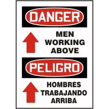 Safety products industrial supply tna safety bilingual signs bilingual signs danger men working above signs peligro h sciox Gallery