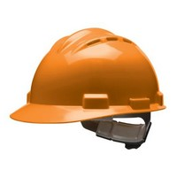 Bullard 62HOR Bullard S62 Series Hi-Viz Orange Vented Safety Cap With 4 Point Ratchet Headgear And Cotton Browpad
