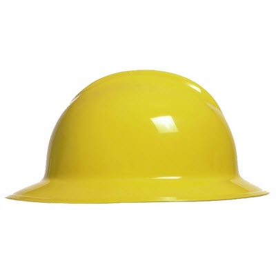 Bullard C33YLR Classic Series Yellow HDPE Flex-Gear 6-Point Ratcheting Suspension Full Brim Hardhat