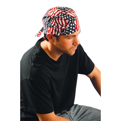73f0defc74 Occunomix TN6-WAV OccuNomix One Size Fits All Wavy Flag Tuff Nougies Deluxe  Tie Hat (Doo Rag) With Elastic Rear Band  TN6-WAV