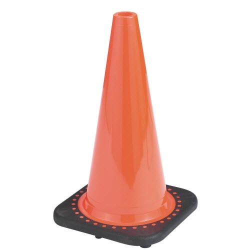 "JBC RS45015C 18"" Fluorescent Orange PVC Injection Molded Traffic Cone"