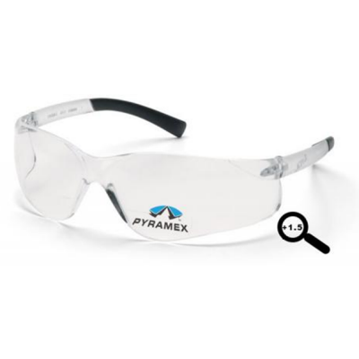 Pyramex S2510R15 Ztek Readers Safety Glasses: Clear+1.5 Diopter Lens Wraparound Frame