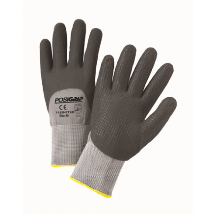 West Chester Black Foam Nitrile Dip Gloves: Gray Nylon Shell with Dotted Palm